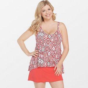 Denim & Co Beach Hi-Lo Tankini Swimsuit With Skirt